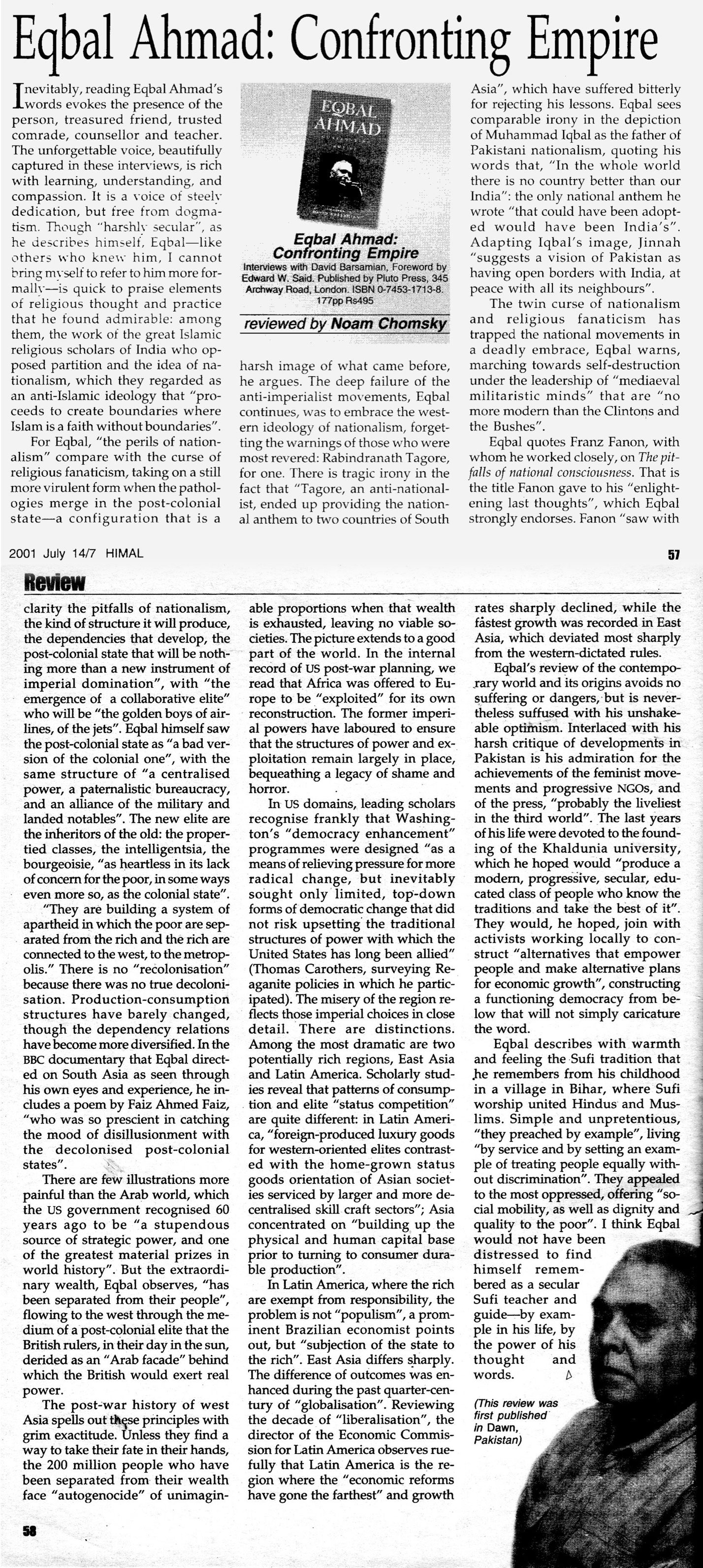 Confronting Empire newspaper scan